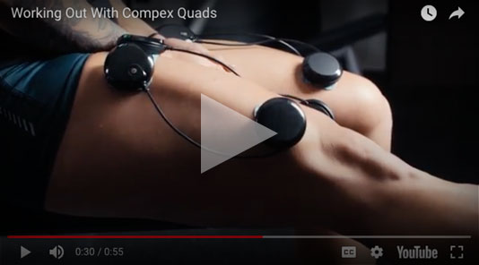 Wearing Compex pads on their elbow